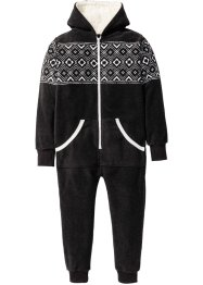 Fleece Overall mit Kapuze, bpc bonprix collection, anthrazit meliert/wollweiss