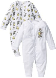Baby Overall (2er-Pack) Bio-Baumwolle, bpc bonprix collection, weiss/neutralgrau