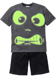 "Shorty-Pyjama (2-tlg. Set) ""GLOW IN THE DARK"", bpc bonprix collection, anthrazit meliert/schwarz"