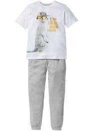Pyjama (2-tlg. Set), bpc bonprix collection, weiss/blaupetrol