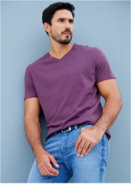 V-T-Shirt (3er-Pack) Regular Fit, bpc bonprix collection, weinbeere+jeansblau+weiss