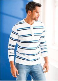 Langarmshirt Regular Fit, bpc bonprix collection, weiss/dunkelblau/azurblau geringelt