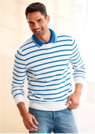 Streifen-Pullover Regular Fit, bpc bonprix collection, weiss/azurblau gestreift