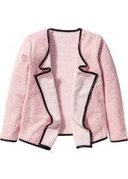 Drapierter Cardigan, bpc bonprix collection, rosa/wollweiss meliert