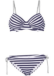 Bügel Bikini (2-tlg. Set), bpc bonprix collection, dunkelblau/weiß
