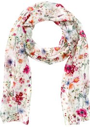 Schmaler Seidenschal floral, bpc bonprix collection, creme/multi