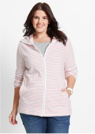 Shirtjacke mit Kapuze, bpc bonprix collection, koralle/weiss gestreift