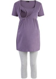 Still-Capri-Pyjama, bpc bonprix collection, lila/hellgrau meliert