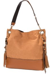 Shopper mit Troddeln, bpc bonprix collection, cognac/gold