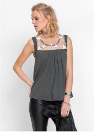 MUST HAVE: Top mit Spitze, RAINBOW, anthrazit/wollweiss
