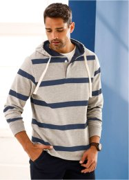 Sweatshirt m. Kapuze Regular Fit, bpc bonprix collection, hellgrau meliert/dunkelblau gestreift
