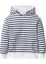 Gestreiftes Kapuzensweatshirt, bpc bonprix collection, wollweiss/indigo meliert