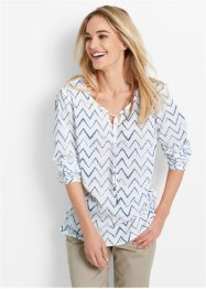 Bluse, Langarm, bpc bonprix collection, weiss/jeansblau gestreift