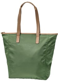 Shopper mit Lederimitat, bpc bonprix collection, oliv