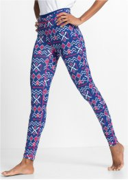 Funktions-Leggings, lang, bpc bonprix collection, enzianblau gemustert
