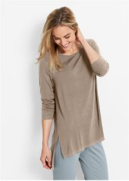 Long-Shirt mit Schlitzen, bpc bonprix collection, taupe