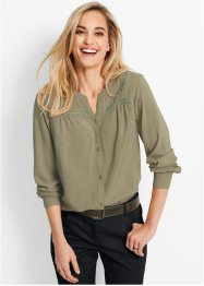 Bluse mit Details aus Spitze, bpc bonprix collection, new khaki
