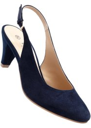 Lederslingpumps, bpc selection, dunkelblau