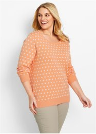 Pullover, bpc bonprix collection, aprikose/weiss gepunktet