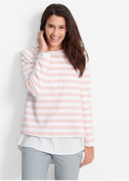Sweatshirt, bpc bonprix collection, perlrosa/weiss gestreift