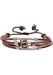 4-reihiges Lederarmband, bpc bonprix collection, rot/cognac/weiss