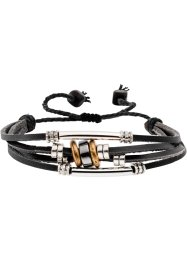 4-reihiges Lederarmband, bpc bonprix collection, schwarz
