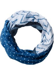 Loop im Patchwork-Look, bpc bonprix collection, dunkelblau/weiss