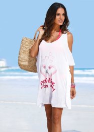 Strandshirt, bpc selection, weiss Flamingo
