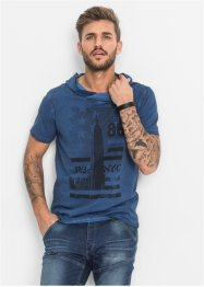 T-Shirt mit Schalkragen Slim Fit, RAINBOW, blue used