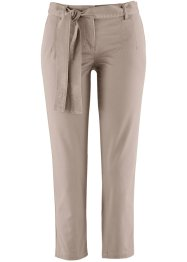 7/8-Stretchhose mit Bindeband, bpc bonprix collection, taupe