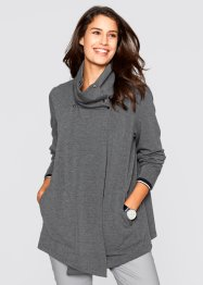 Gilet sweat asymétrique, bpc bonprix collection, anthracite chiné