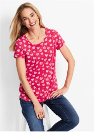 Flammgarn-Shirt, Halbarm, bpc bonprix collection, hibiskuspink bedruckt