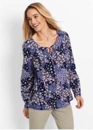 Bluse, Langarm, bpc bonprix collection, dunkelblau bedruckt