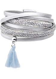 Wickelarmband metallic, bpc bonprix collection, silberfarben/hellblau