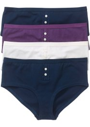 Panty (4er-Pack), bpc bonprix collection, dunkelblau/weinbeere/wollweiss