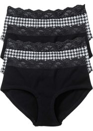 Panty (4er-Pack), bpc bonprix collection, schwarz/weiss gemustert