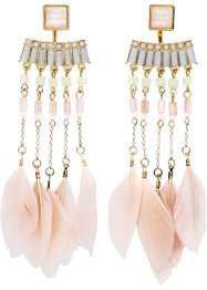 Ohrringe mit Federn, bpc bonprix collection, goldfarben/pink