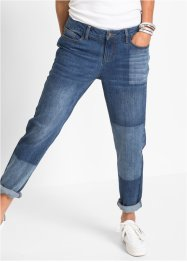 Boyfriend Jeans mit Patchwork-Optik, RAINBOW, blue stone