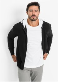 Strickjacke m. Kapuze, bpc bonprix collection, schwarz/weiss