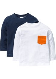 Lot de 2 T-shirts à manches longues avec poche, bpc bonprix collection