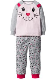Pyjama (2-tlg. Set), bpc bonprix collection, hellgrau meliert/perlrosa