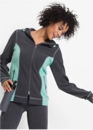 Funktions-Fleecejacke, langarm, bpc bonprix collection, schiefergrau meliert