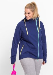 Sweatjacke, lang, bpc bonprix collection, mitternachtsblau
