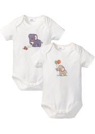 Baby Kurzarmbody (2er-Pack) Bio-Baumwolle, bpc bonprix collection, wollweiss