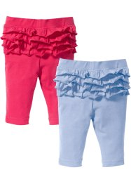 Lot de 2 leggings bébé avec ruchés coton bio, bpc bonprix collection