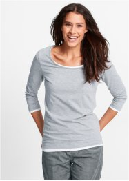 T-shirt extensible manches 3/4, bpc bonprix collection, gris clair chiné