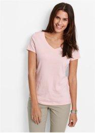 T-shirt col V, bpc bonprix collection, rose nacré