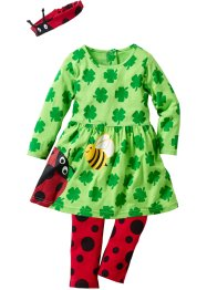 Baby Langarm Kleid + Leggings + Stirnband (3-tlg.) Bio-Baumw, bpc bonprix collection, knallgrün/rot/schwarz