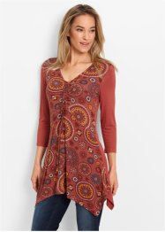 3/4-Arm-Shirt-Tunika, bpc bonprix collection, marsalabraun bedruckt