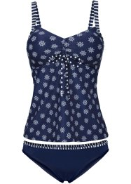Tankini (2-tlg. Set), bpc bonprix collection, dunkelblau/weiß